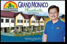 """GRAND MONACO NORTHVILLE Located at Camarin, Novaliches, Caloocan City, Philippines--Near Novaliches Bayan – Wet and Dry Market """"BAGSAKAN""""; Near Puregold Almar and Zabarte Mall >> Townhouse/Premiere--52sqm x 64 sqm--3 Bedrooms x 1Toilet&Bath--1.9ha >> Amenities: Walled subdivision with secure gate; 24 hour security with CCTV; Electricity provided by Meralco"""