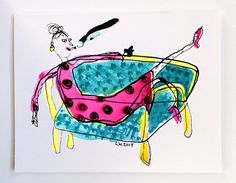 Mom on Couch Greeting Card by lizworthy on Etsy