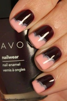 Stunning brown and peach Nail Art. With silver for extra bling.