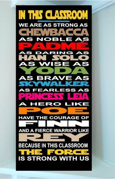 Beautiful STAR WARS wooden subway art sign -In this house we are as strong as chewbacca as noble as padme as brave - Star Wars Paint - Ideas of Star Wars Paint - EN VENTA hermoso STAR Wars arte de madera metro firmar en Chewbacca, Star Wars Room, Star Wars Decor, Star Wars Zimmer, Star Wars Classroom, School Classroom, Cuadros Star Wars, Anniversaire Star Wars, Star Wars Painting