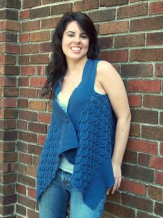 Blue Velvet Reversible Faux Cabled Vest: PDF Knitting Pattern by The ...