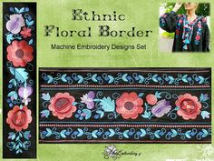 Ethnic Floral Borders Set   Machine Embroidery Designs Set