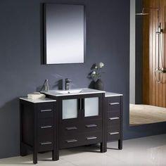 "Fresca Torino 54"" Espresso Modern Bathroom Vanity w/ 2 Side Cabinets & Integrated Sink"