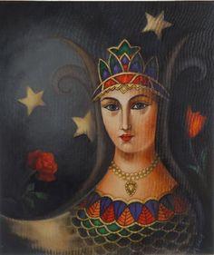 "The shahmaran, legendary snake woman of Eastern Anatolia, reverse glass painting.  From the Baski Museum in Turkey.  ""Half Human half snake """
