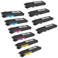 Speedy Inks - Dell C3760 Compatible Set of 10 Extra High Yield Laser Toner Cartridges 4x 331-8429, 2x 331-8432, 2x 331-8430, & 2x 331-8431 for use in Dell 3760DN, 3760N, & 3765dnf