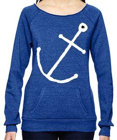 Look at this #zulilyfind! Pacific Blue Minimal Anchor Boatneck Pullover Sweatshirt #zulilyfinds
