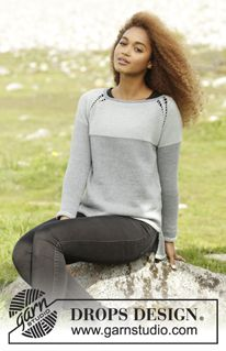 "Stonehenge - Knitted DROPS jumper with vents, raglan and yoke with wrong side out, worked top down in ""Cotton Merino"". Size: S - XXXL. - Free pattern by DROPS Design"