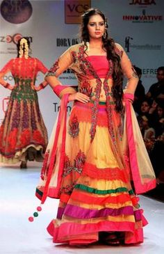Rajasthani fashions in a fashion parade in Rio.