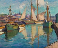 Bright Day in Gloucester Harbor by Emile Albert Gruppe