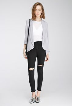 Open-Front Crepe Blazer   Forever 21 Canada