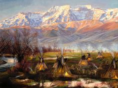 Tipis by Jeremy Winborg Native americans in tipis along the timpanogos mountains in utah Native American Paintings, Native American Images, Native American Artists, Indian Paintings, American Indians, American Pride, American Actors, Oil Paintings, Le Far West