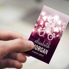 Customizable Modern Hair Stylist - Pink Glitter Sparkle Business Card Templates