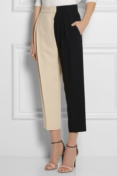 !!!!!!!!!!! Chloé|Two-tone crepe wide-leg pants|NET-A-PORTER.COM