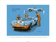 """1969 Le Mans-winning GT40 being readied for the race. 14.5""""x 11"""" Edition of 50 © Paul Chenard"""