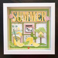 the crafty yogi: A Summer Sampler, Fun with Framed Art Box Frame Art, Diy Frame, Shadow Box Art, Shadow Box Frames, Summer Crafts, Holiday Crafts, Holiday Decor, Collage Frames, Collages