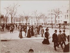 New Yorkers walking along 60th and Broadway, ca. 1905.