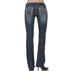 Miss Me Women's Leather Cut Out Boot Cut Jeans