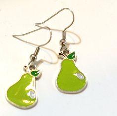 Green Pear Enamel Charm Earrings  Teacher's Pet by SummerWilson8, $2.50