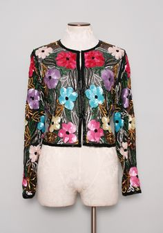 vintage 1980s sheer black silk cropped jacket with beaded trip and colorful floral sequin motif