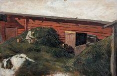 A yard view by Hugo Simberg Bukowski, Finland, Auction, Yard, Landscape, Nice, House Styles, Painting, Artists