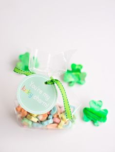 """You're My Lucky Charm"" free printable favor tags."