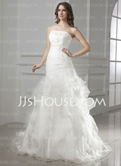 Wedding Dresses - $206.99 - A-Line/Princess Strapless Court Train Organza Satin Wedding Dress With Ruffle Lace Beadwork (002015454) http://jjshouse.com/A-Line-Princess-Strapless-Court-Train-Organza-Satin-Wedding-Dress-With-Ruffle-Lace-Beadwork-002015454-g15454