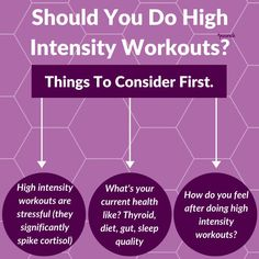 High intensity workouts significantly spike cortisol levels when compared to low intensity. Therefore high intensity workouts may not be so beneficial if you are looking to support your thyroid, metabolism and hormones. . But this doesn't mean you can't do high intensity workouts. You should first consider your overall health. How is your thyroid health, your diet, mineral balance and your sleep quality. Polycystic Ovarian Syndrome, Pcos Diet, High Intensity Workout, Thyroid Health, Cortisol, Do You Feel, Nutrition Tips, Hiit, Metabolism
