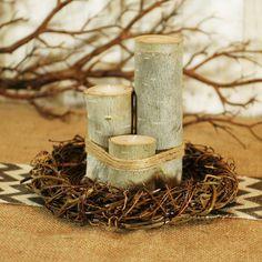 make a natural twig and stick wreath for woodsy center peices Tea Light Candles, Votive Candles, Tea Lights, Mason Jar Candle Holders, Candle Set, Woodland Wedding, Rustic Wedding, Candlestick Centerpiece, Birch Logs