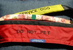 We offer a variety of options for dressing up your dog's collar or getting a message out....Our covers are made in ripstop nylon so they are durable for working therapy dogs, service dogs etc. Can also be done in colorful prints or solid colors so they are great for seasonal or holiday dressing. We can also make them as two separate pieces so they can be fitted around an electronic collar. They close with velcro on the underside so they can easily be switched from one collar to another…