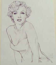 Marilyn Monroe by miss Led. - Marilyn Monroe by miss Led. Marilyn Monroe Drawing, Marilyn Monroe Pop Art, Marilyn Monroe Tattoo, Marilyn Monroe Photos, Pencil Art Drawings, Art Drawings Sketches, Cute Drawings, Girl Face Drawing, Celebrity Drawings