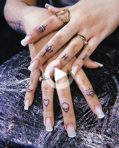 How many tattoos would you get on fingers?⠀⠀⠀⠀⠀⠀⠀⠀⠀ 👉🏻 Tiny tattoo inc⠀⠀⠀⠀⠀⠀⠀⠀⠀ 👉🏻 Tiny tattoo inc⠀⠀⠀⠀⠀⠀⠀⠀⠀ .⠀⠀⠀⠀⠀⠀⠀⠀⠀ How many tattoos would you get on finge Cute Finger Tattoos, Finger Tattoo For Women, Tiny Tattoos For Girls, Small Finger Tattoos, Finger Tattoo Designs, Hand Tattoos For Women, Finger Tats, Tattoo Designs For Women, Tattoos For Fingers