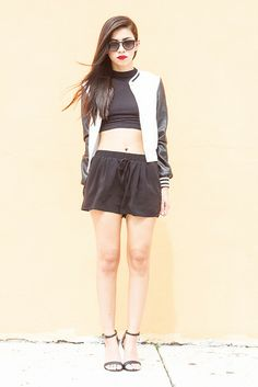Daisy Street Varsity Jacket, Forever 21 Drawstring Shorts, Ray Ban Erika Sunglasse