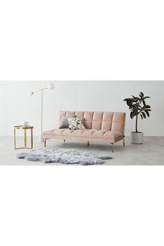 Hallie Click Clack Sofa Bed, Pastel Pink Velvet with Copper Legs Pink Velvet Sofa, Comfy Bed, Spare Room, Pastel Pink, Building A House, Copper, Room Ideas, Decor Ideas, Interior Design
