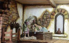 Duermete niño Miniature Rooms, Miniatures, Nativity Scenes, Painting, Portal, Boxes, Art, Ideas, China Dolls