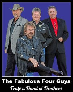 """The Four Guys, the only vocal group ever invited to receive a lifetime membership to the Grand Ole Opry in Nashville. Recipients of numerous awards, including several Vocal Group of the Year awards, they performed together for 32 years. I saw them perform on the Grand Ole Opry, where their rendition of """"Shenandoah"""" was a staple for many years."""