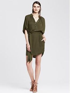 Heritage Shirred Shirtdress | Banana Republic