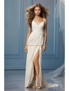 Sexy Moderne Lange Brautkleider aus Chiffon mit Schleppe