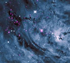 Starry light years from Earth, the Lagoon Nebula is seen with its swirling clouds of gas and dust in a pattern reminiscent of Van Gogh. This nebula provides astronomers an excellent. Wow Art, To Infinity And Beyond, Night Skies, Illustration, Beautiful Pictures, Scenery, Clouds, Earth, Manila