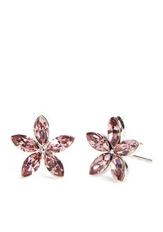 New Directions® Silver-Tone Swarovski® Elements Pink Sapphire Flower Button Boxed Earrings