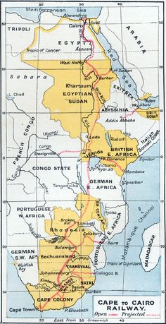 Map of the Cape to Cairo railway, projected to link together the British colonies in Africa. 1907.