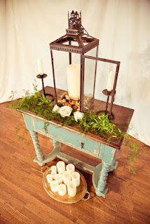 unity candle table wedding  Minus the greenery and maybe a natural wood instead of the painted.