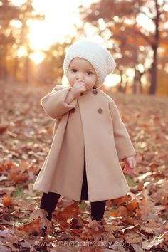 Cute beige coat for toddler