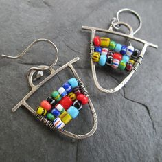 Tribal Dangling Earrings Silver African Trade Bead by artdi