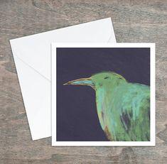 """Carte de souhaits """"Oiseau vert mauve orange"""". Dessin original. 5,25 x 5,25, intérieur blanc. Carton satiné, qualité. Enveloppe comprise. Mauve, Polaroid Film, Orange, Painting, Etsy, Custom Map, Greeting Cards, Envelope, Impressionism"""