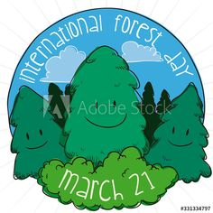 Button with Cute Pine Trees Celebrating International Forest Day, Vector Illustration - Buy this stock vector and explore similar vectors at Adobe Stock Pine Tree, Adobe, Vectors, Trees, Explore, Button, Celebrities, Day, Illustration