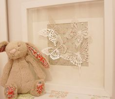 Shabby Chic Box Frame. White / Green With Butterflies. Nursery Baby Shower Christening Gift on Etsy, $14.00