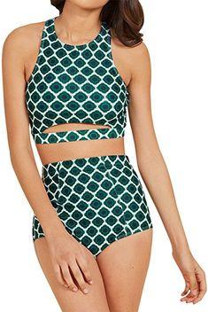 e29d9e738e237 Amazon.com  Ladies Vintage Bathing Suit Padded Floral Yellow Bikini Swimwear  for Women Plus Size
