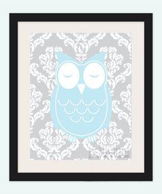 Baby boy Owl Damask Nursery Print by britespotdesign on Etsy