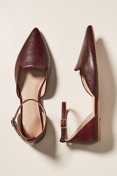 Benson D'Orsay Flats by Anthropologie in Purple Size: 9 W, Fall Flats, Ankle Strap, Pairs, Beige, Anthropologie, Chic, Purple, Stylish, Heels