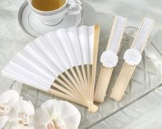 Elegant White Personalizable Paper Fan (Set of Everyone will become a fan of this fabulous favor! Thank guests and see to their comfort at the same time with this simple, collapsible fan. The breeze they'll all kick up will keep you cool, too! Summer Wedding Favors, Elegant Wedding Favors, Wedding Favours, Party Favors, Wedding Ideas, Wedding Inspiration, Party Gifts, Spring Wedding, Wedding Gifts